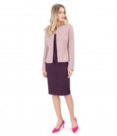 Office outfit with loop jacket and elastic jersey dress