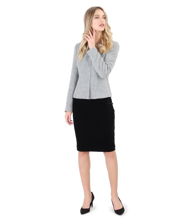 Loop jacket with velvet skirt