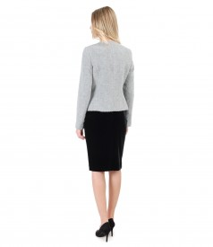 Loop jacket with velvet skirt