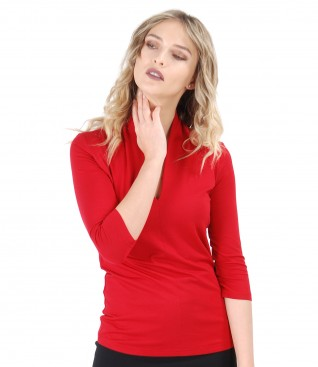 Jersey t-shirt with deep decolletage