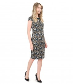 Elastic jersey midi dress with floral print