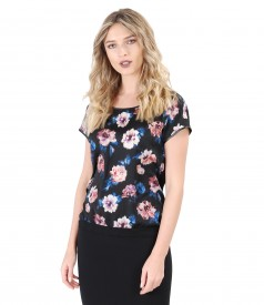Blouse with floral printed veil