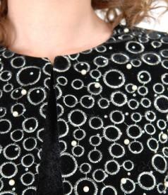 Black velvet bolero with pearls