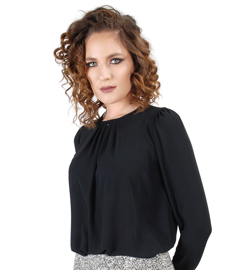Blouse with folds on decolletage embellished with crystals from Swarovski