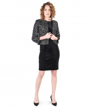 Elegant outfit with elastic velvet dress and velvet jacket with pearls