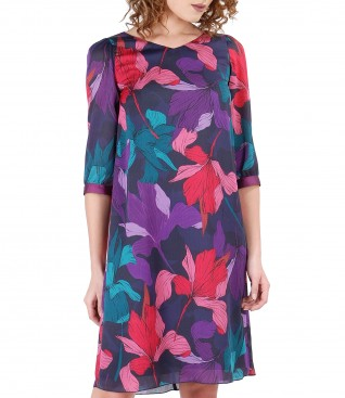 Flaring veil dress with floral print and trim