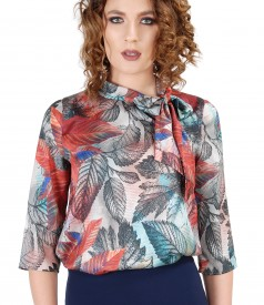 Blouse with scarf collar