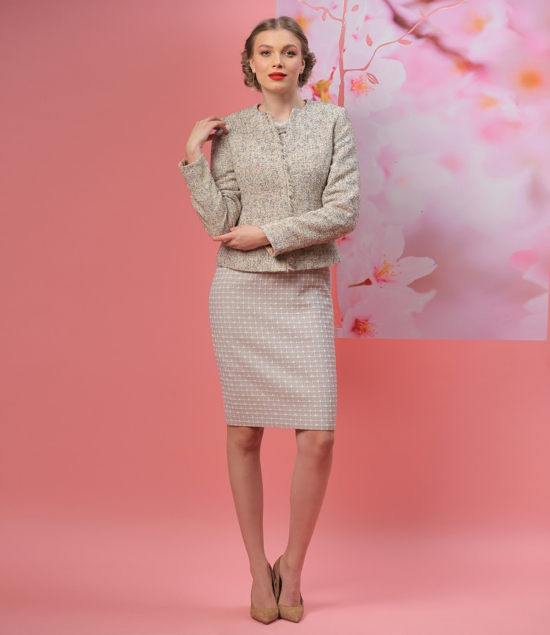 Office outfit with loop jacket and elastic fabric dress