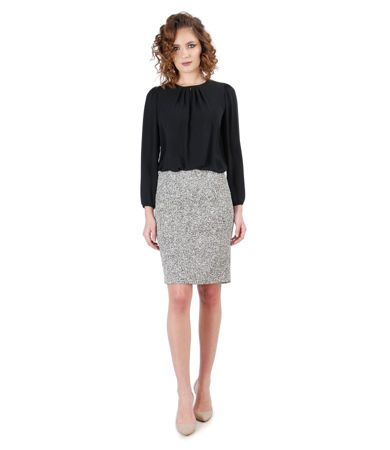 Office outfit with loop skirt and blouse with folds on decolletage