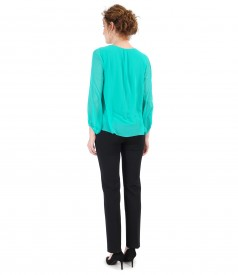 Ankle pants with veil blouse and puff sleeves