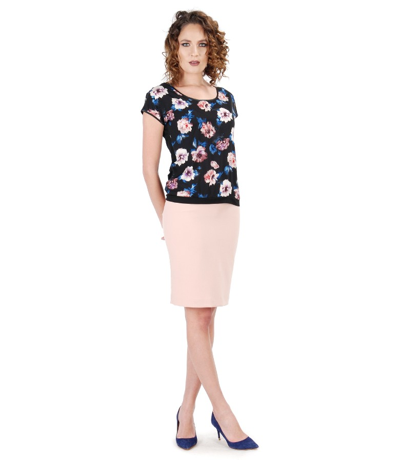 Elegant outfit with midi skirt and blouse with floral print