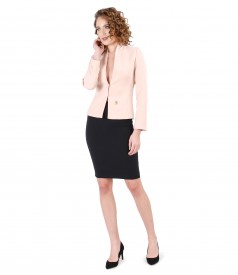 Jacket with crystals and midi skirt