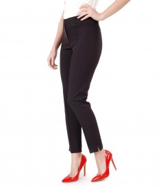 Office pants made of textured fabric with sewn stripe