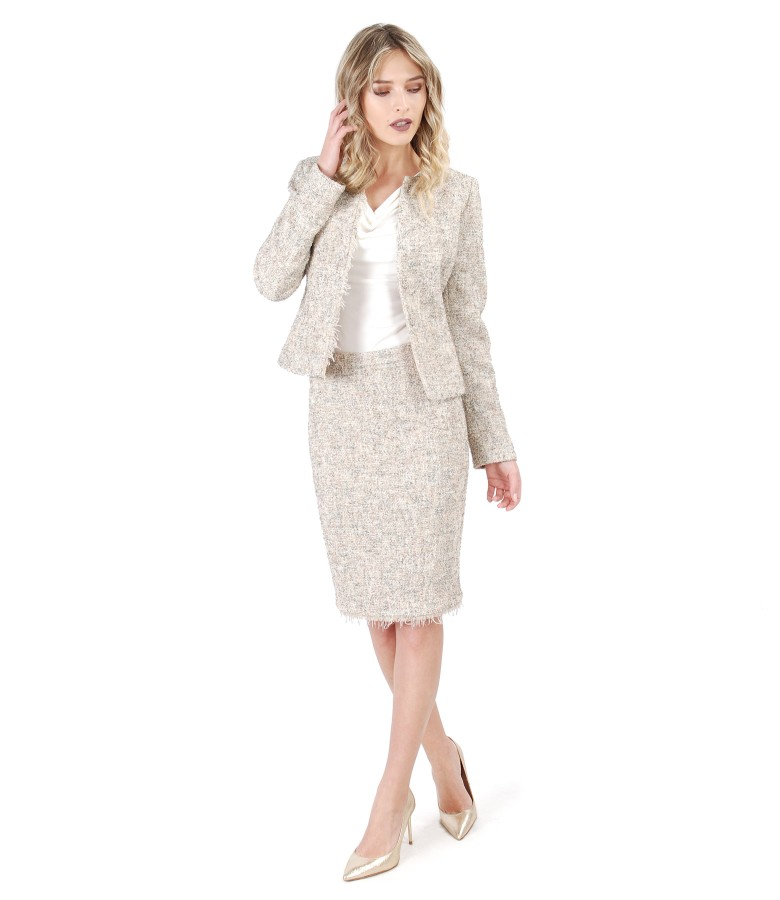Office woman suit with skirt and loop jacket with fringes