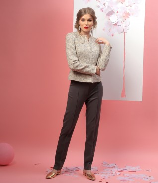 Elegant outfit with loop jacket with fringe and ankle pants