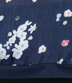 Blouse veil front with floral print