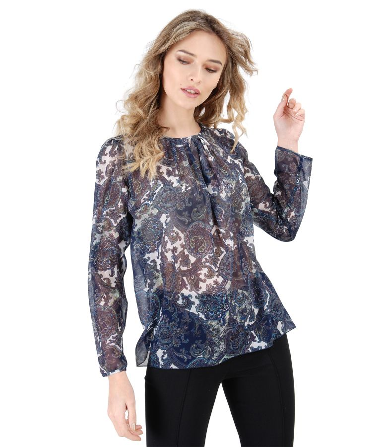 Veil blouse with folds on decolletage