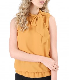 Blouse without sleeves and scarf collar
