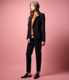 Office outfit with jacket, elastic fabric pants and blouse with scarf collar