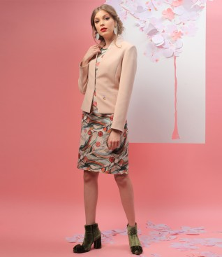 Elastic fabric jacket with printed cotton dress