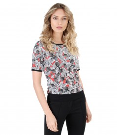 Elastic jersey blouse with embossed print