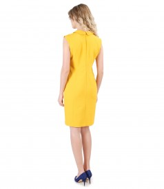 Textured fabric dress with decorative buttons