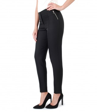 Ankle pants with metallic zipper