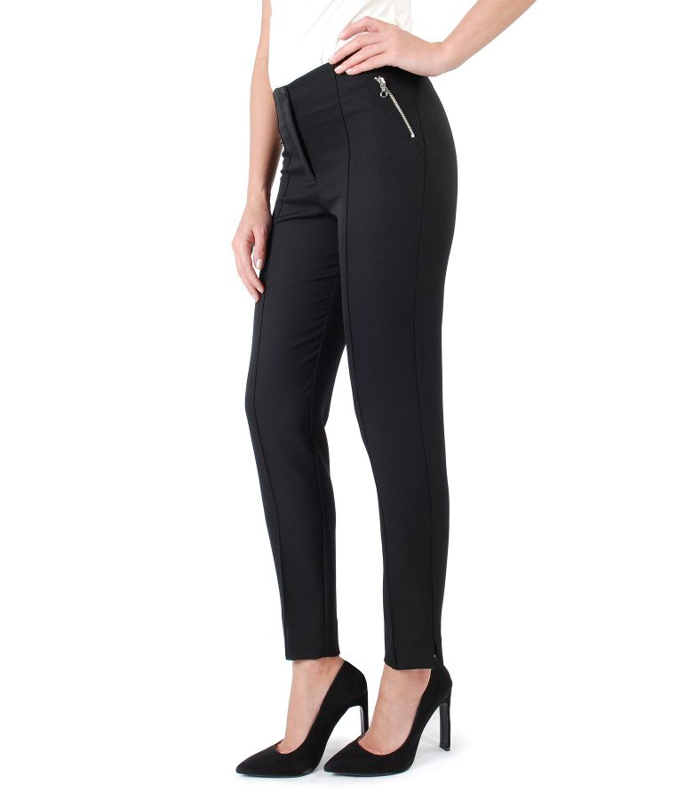 Ankle pants with fake pockets and metallic zipper