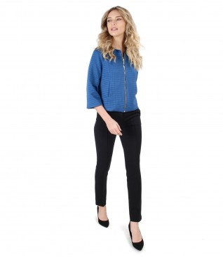 Elegant outfit with elastic brocade jacket and ankle pants