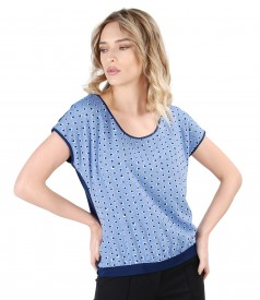 Blouse with viscose front printed with dots