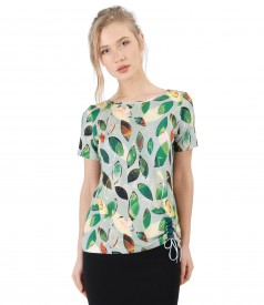 Elastic jersey blouse with cord at the bottom