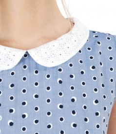 Viscose dress with lace collar