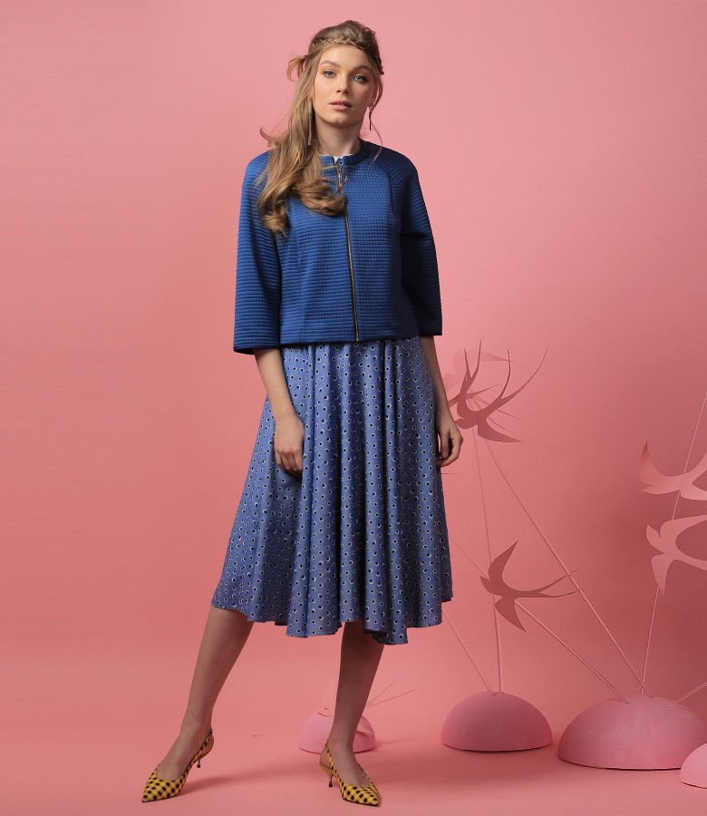 Viscose dress with elastic brocade bolero