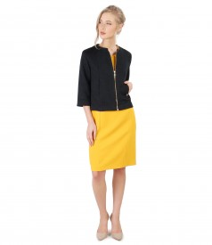 Elegant outfit with elastic brocade bolero and yellow textured fabric