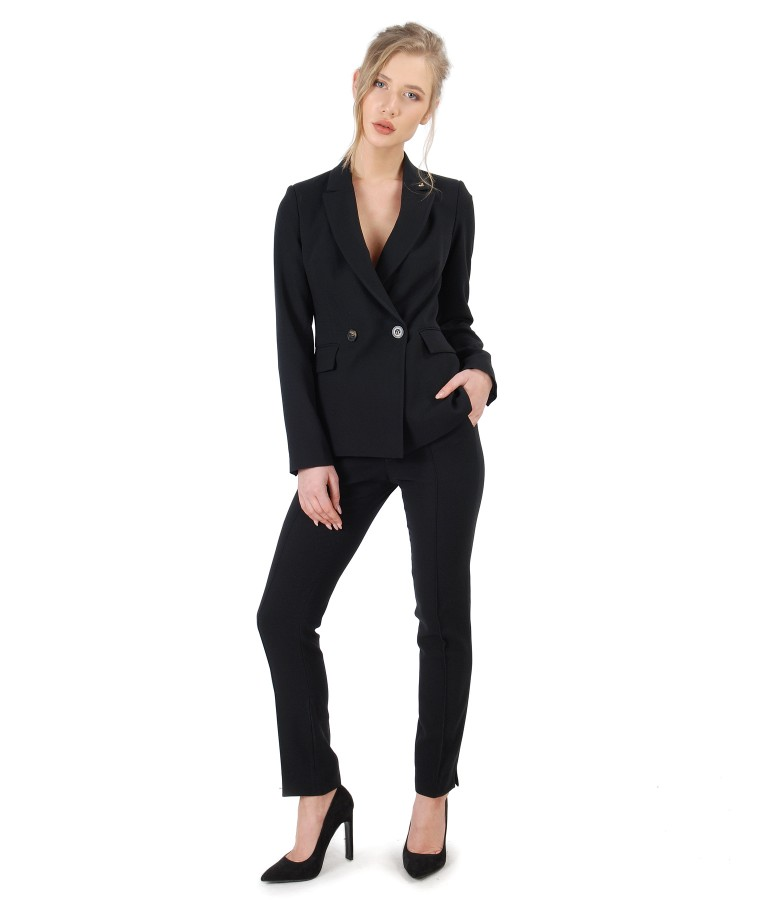 Jacket and pants made of black elastic fabric