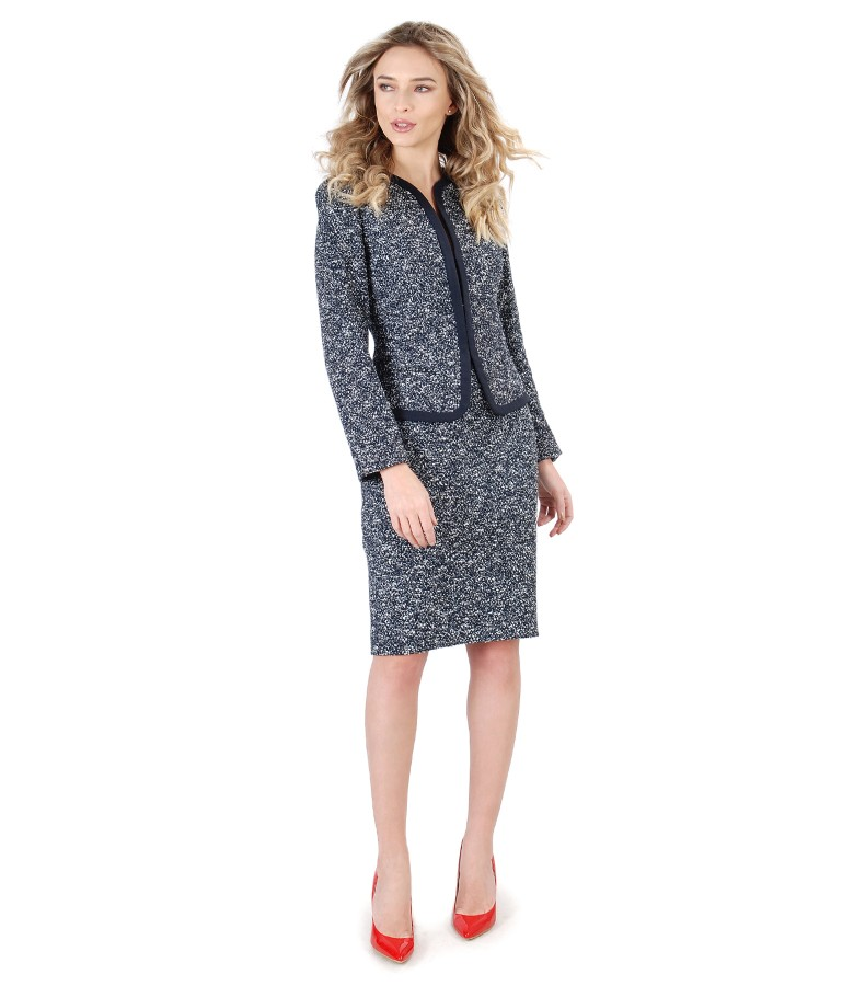 Office woman suit with skirt and cotton loops jacket