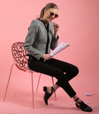 Office outift with cotton loops jacket and pants with zipper at pocket