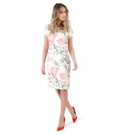 Brocade cotton dress with floral motifs