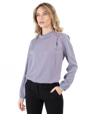 Viscose blouse with long sleeves and round collar