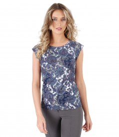 Elastic jersey blouse with floral print