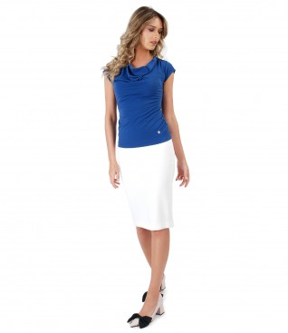 Office skirt made of elastic fabric and blouse with decolletage with folds