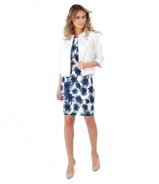 Elastic brocade bolero with dress with floral print