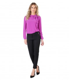 Blouse with scarf collar and ankle pants