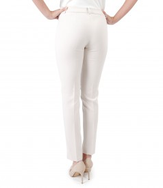 Office pants made of elastic with stripe sewn on front