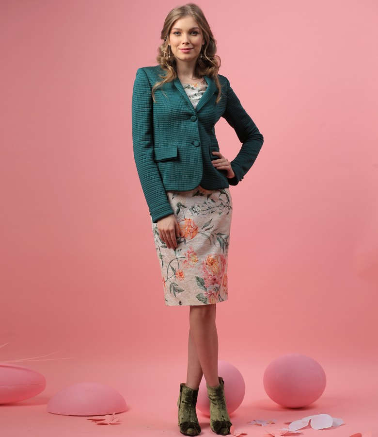 Elegant outfit with elastic brocade jacket and cotton dress