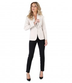 Office women suit with jacket and elastic fabric pants