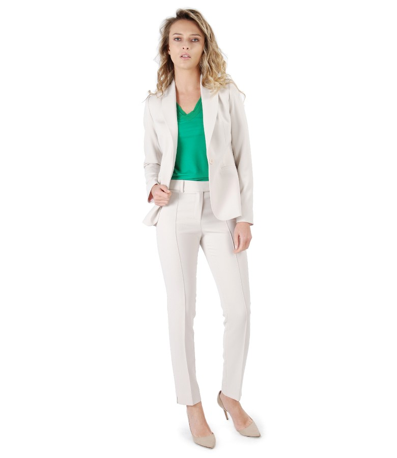 Office women suit with jacket and ankle plants made of beige elastic fabric