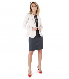 Elastic fabric jacket with dress with trim