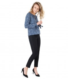 Ankle pants with decorative seam and printed viscose blouse