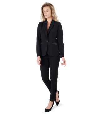 Office women suit with pants and black elastic fabric jacket
